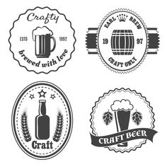 Craft Beer Brewery Badges And Logo Vintage Bar Icon Beverage Alcohol Bottle Keg Vector Illlustration