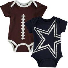 Dallas Cowboys Newborn   Infant Meeks 2-Pack Bodysuit Set - Navy Brown  Dallas d8315721a