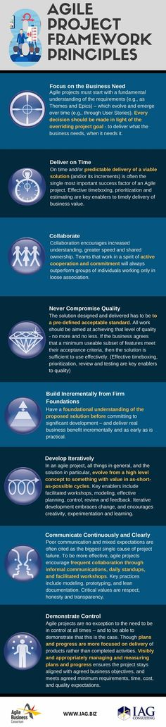 The Agile Business Consortium's 8 Principles of Agile Project Management with key enablers and perspective from IAG.