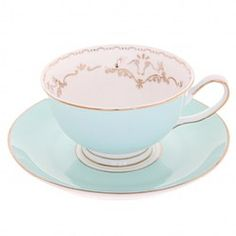 Butterfly and Bird Teacup and Saucer