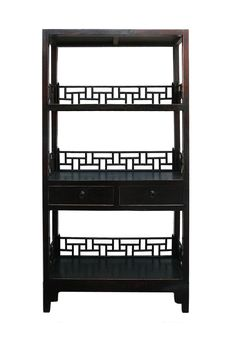 Rustic Black & Brown Lacquer Bookshelf on Chairish.com