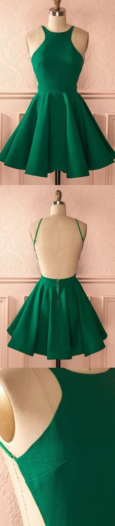 Pleated Homecoming Dresses, Green A-line/Princess Homecoming Dresses, Short Green Homecoming Dresses, 2017 Homecoming Dress Hunter Backless Sexy Short Prom Dress Party Dress Backless Homecoming Dresses, Mini Prom Dresses, Dresses Short, Prom Dresses 2017, Party Dresses, Dress Party, Dresses Dresses, Dresses Online, Dress Flower