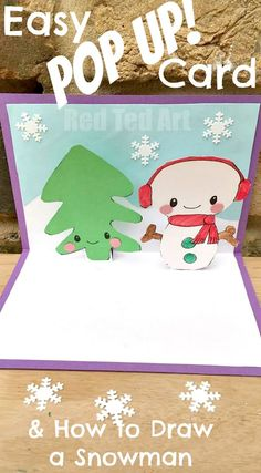 """Red Ted Art's Snowman Pop Up Card - these are oh so cute and super easy to make. Includes a """"how to draw a snowman"""" guide. Wonderful Christmas Cards for Kids to make and send (or use them as Thank You Cards in the New Year!) Pop Up Christmas Cards, Merry Christmas Banner, Christmas Drawing, Pop Up Cards, Xmas Cards, Christmas Art, Handmade Christmas, Christmas Ideas, Easy Crafts For Kids"""