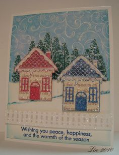 hero arts glittered houses card