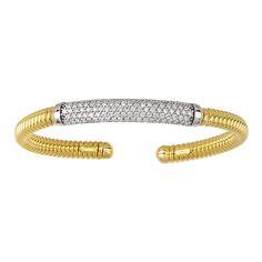 1.55ctw. Diamonds 18KT Two-Tone Gold Ribbed Cuff Bangle Bracelet