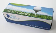 Golfbaldoosje voor 3 golfballen. Wij leveren snel en voordelig uw bedrukte golfballendoosjes.