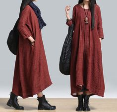 Women Plus size dress cotton dress maxi dress loose dress