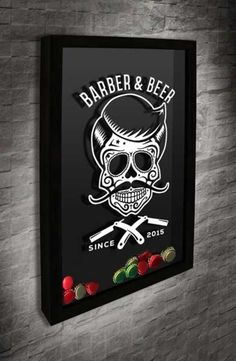 Beer Cap Frame – Barber & Beer With the design of a Mexican skull with a tuft and mustache this frame is a great decoration item for your family …. How To Build A Mobile Grooming Van Barber Shop Interior, Barber Shop Decor, Barber Quotes, Logos Vintage, Beard Barber, Barber Logo, Beer Caps, Mexican Skulls, Skull And Crossbones