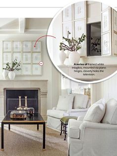 genius way to hide a living room television, southern living. genius way to hide a living room television, southern living Tv Escondida, Home Living Room, Living Spaces, Living Room Decor With Tv, Apartment Living, Apartment Ideas, Table Design, Fireplace Wall, Hide Tv Over Fireplace