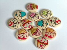 12 Cupcake Pattern Wooden Buttons EB57 by CraftOkapi on Etsy