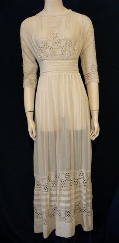 Vintage Tea Dress Edwardian Wedding Gown Ivory Cotton Gauze Lawn Party X Small #unbranded
