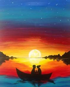 Ocean sunset painting ocean sunset painting lovely best beach summer canvas painting images on ocean sunset . Shadow Painting, Easy Canvas Painting, Simple Acrylic Paintings, Great Paintings, Painting & Drawing, Canvas Art, Sunset Painting Easy, Canvas Paintings, Sunset Drawing Easy