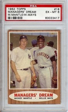 Mickey Mantle / Willie Mays Topps 1962 No. 18 PSA 6 Trading Card . $179.99. New York Yankees Mickey Mantle-and San Franciscos-Willie Mays Topps- Managers' Dream Topps 1962 No. 18 PSA 6 Trading Card