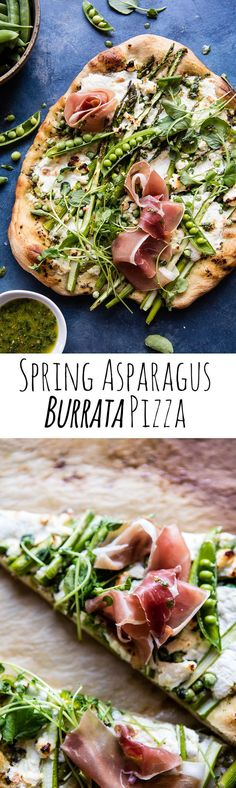 Super Green Pea and Asparagus Burrata Pizza | http://halfbakedharvest.com /hbharvest/