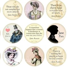 Jane Austen Quotes and Regency Era Fashion 1 inch by magicpug,