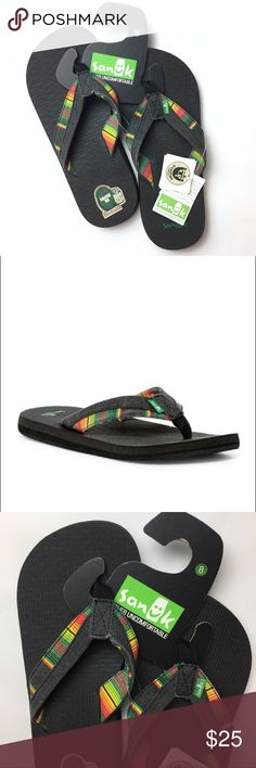 NEW SANUK Beer Cozy Light Funk Flip-Flop Sandal BRAND NEW WITH TAGS. NWT.  MENS SIZE 8 About This Item Sizing: True to size. Whole sizes only; for 1/2 size foot, order next size up. In Rasta colors - Thong toe  - Canvas construction - Printed strap detail  - Slip-on - Beer cozy light cushioned insole -they are made from recycled beer bottles or cans Retail $38  11025M Sanuk Shoes Sandals & Flip-Flops