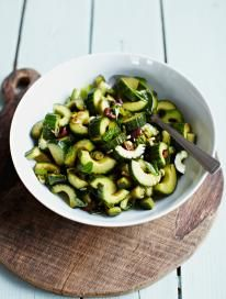 Cucumber and black olive salad with balsamic dressing