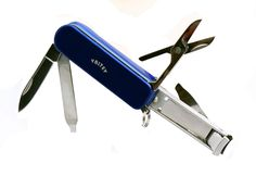 """Multitool Nail Clippers Blue, Keyring Accessories, 5 Stainless Steel Folding Functions. Convenient easy to use manicure set, just clip onto your keychain for instant access. Great for emergency use on a snagged nail or pulling out one of those unexpected pesky splinters. Made from tough 3Cr13 SS with a handy 1.5"""" blade, spring loaded scissors, nail file & cleaner. These cute nail trimmers are 2.2""""long x 0.7""""wide x 0.4""""high x 1.75 ounces, good for baby nails too. They cut my thumbnails…"""