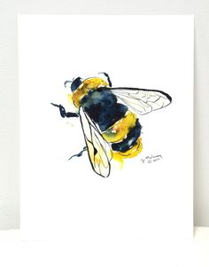 Bumblebee watercolor art (from Jacqueline Maloney on Etsy) - try some insects Art And Illustration, Illustrations, Watercolor Walls, Watercolor Paintings, Watercolours, Watercolor Tattoo, Bee Art, Baby Bumble Bee, Hanging Art