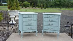Sold ~ O so sweet nightstands painted in our French Shutter Blue with time worn finish. Visit our etsy shoppe! Dixie Furniture, Furniture Ideas, French Country Furniture, French Country Style, Shabby Chic Cottage, French Provincial, Nightstands, French Vintage, Vintage Antiques