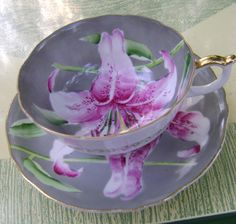 Occupied Japan Tea Cups | Vintage Tea Cup with Stargazer Lily Circa 1950 Made in Occupied Japan