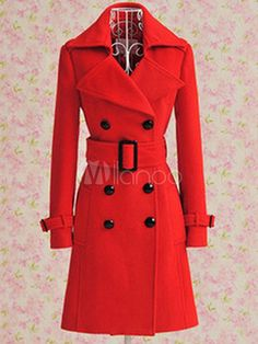Wool Trench Coat rote Frauen Double Breasted Belted Wintermantel