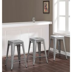 $114 for 3 Tabouret 24-inch Metal Counter Stools (Set of 3) | Overstock.com Shopping - The Best Deals on Bar Stools