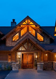 Like the double gable. I would use iron double front doors w/transom and side lights. Really like how the peak/arched roof flows from great room to front of house. Like the windows between 2 arches Log Home Designs, Rustic Home Design, Custom Home Designs, Dream Home Design, Custom Homes, House Front Door, House Front Design, House Entrance, Rustic Houses Exterior