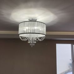 Clear Crystal, Crystal Beads, Crystals, Crystal Ceiling Light, Ceiling Lights, Globe Chandelier, Chandeliers, Candelabra Bulbs, Fabric Shades