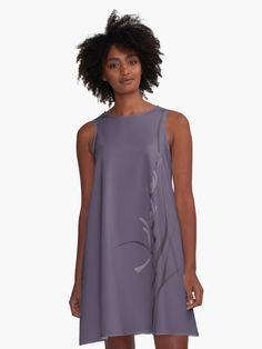 Elegant wild orchid purple floral design A-line dress Zen Home Decor, Dusty Purple, Wild Orchid, Purple Backgrounds, Purple Dress, Elegant Dresses, Orchids, Chiffon Tops, Floral Design