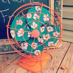 Imagine how pretty this looks when it's spinning! ~ hand painted fan by girlUPcycled