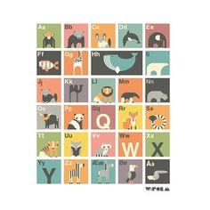 ABC alfabet plakat til børneværelset stor