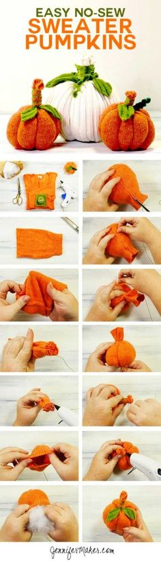 Sweater Pumpkins DIY Tutorial - Easy No-Sew Fall Project   Sweater Upcycling   DIY Halloween Autumn Decor   How to Make Upcycled Pumpkins