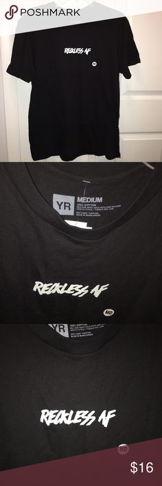"""Young & Reckless black graphic t-shirt reckless af Young & Reckless. Black t-shirt, white wording. Graphic tee. NWT men's medium. Says """"Reckless AF"""" in middle. Everything shown in photos. Original price includes tax. Any questions - feel free to leave them in the comments below. Young & Reckless Shirts Tees - Short Sleeve"""
