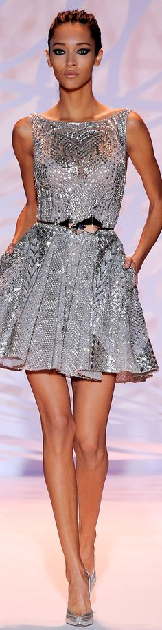 Zuhair Murad Couture Collection Fall 2014 | silver | gray | embellished cocktail dress