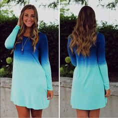 ❤️MOST WANTED❤️ 5 🌟!! Blue Ombré Minidress! NEW! Gorgeous!! Poly/spandex blend. Blue teal ombré. Measures 19 inches pit to pit, and 34 inches collar to hem. Very stretchy. NWOT only worn to model. Model is a size 8 medium 64 inches tall. Boutique Dresses Mini
