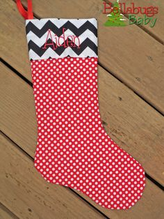 Red Polka Dot and Black Chevron Christmas Stocking - Holiday - Monogramming Personalized Option