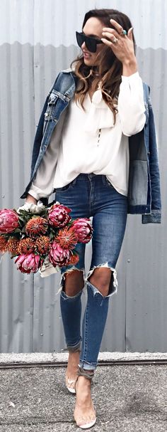 #spring #fashion /  Denim Jacket / White Knit / Destroyed Skinny Jeans