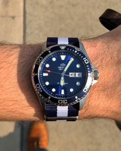 [Orient Ray II] Got the perfect NATO band and took out this watch for its first dive yesterday! Orient Watch, Best Watches For Men, Best Build, Rolex Submariner, Seiko, Diving, Good Things, Pure Products, Porn