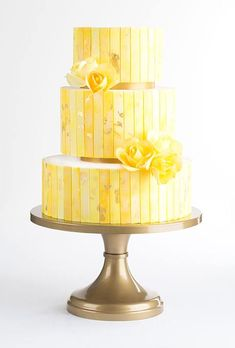 Brides: A Three-Tiered Yellow Cake with Gold Details. Inspired by a bright-yellow Mark Rothko painting, Allison Kelleher of AK Cake Design dreamed up this vibrant, modern confection that's hand-painted with swashes of watercolor and edible flecks of gold. Creative Wedding Cakes, Beautiful Wedding Cakes, Beautiful Cakes, Amazing Cakes, Metallic Cake, Gold Cake, Cupcakes, Cupcake Cakes, Saffron Cake