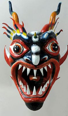 Diablico Sucio mask  La Chorrea, Panama  Dervived from African and Catholic traditions. Vivid image of the battle between good and evil that promoted conversation.