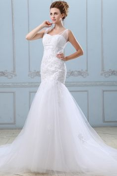 Elegant White Tulle Wedding Gown - Order Link: http://www.theweddingdresses.com/elegant-white-tulle-wedding-gown-twdn3094.html - Embellishments: Beading,Applique; Length: Chapel Train; Fabric: Tulle; Waist: Dropped - Price: 207.17USD