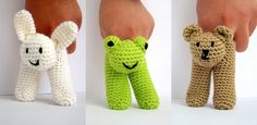 This is not the item itself, it is crochet pattern of two finger puppets for bunny, frog and bear.  This is a very easy project that can be completed in a few hours with basic crochet stitches using your leftover yarns. You can make as party favors for baby showers, birthday parties. Wear the puppet into your two fingers and you are ready to have fun with kids. Tickle baby`s tummy, tell bed time stories to toddler or let children make up their own stories. It is fun for all ages. They ar...