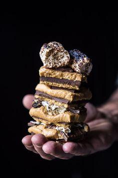No Bake Triple Decker Peanut Butter S'mores Bars