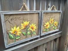 Recycled wood frame  sunflowers on burlap  by RebecaFlottArts