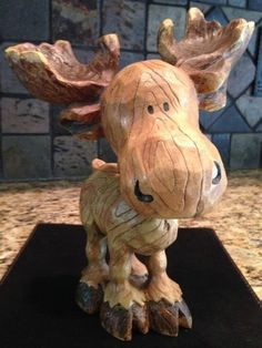 Indoor / Outdoor Wood Carved Statue - My Wood Den Dremel Projects, Wood Projects, Woodworking Projects, Wood Sculpture, Sculptures, Moose Decor, Whittling Wood, Wood Carving Patterns, Wood Carving Art