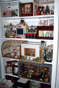 Shelves with my Miniature Room Boxes
