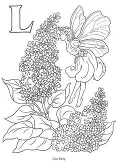 coloring page alphabetic lilac fairy l  - kleurplaat alfabetisch bloemenelfje l