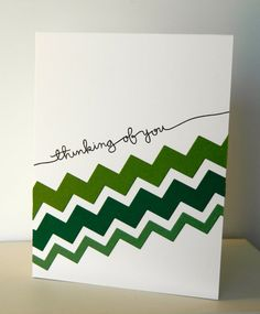 Handmade Thinking of You Card in Green and White by pattitudes