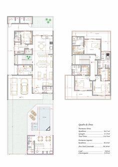Projeto de sobrado de 3 quartos com 202,80m²